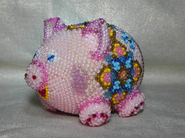 свинья из бисера, простые схемы фото 5