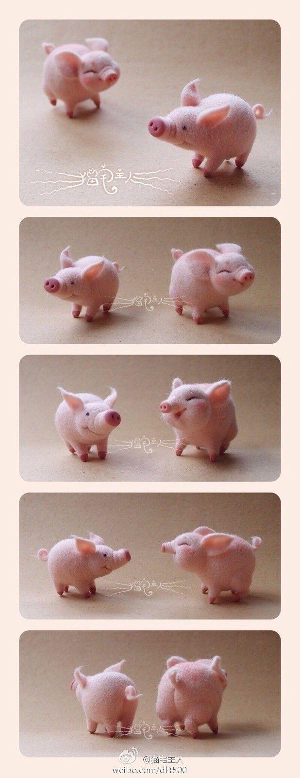 свинка из войлока (валяной шерсти) фото 2