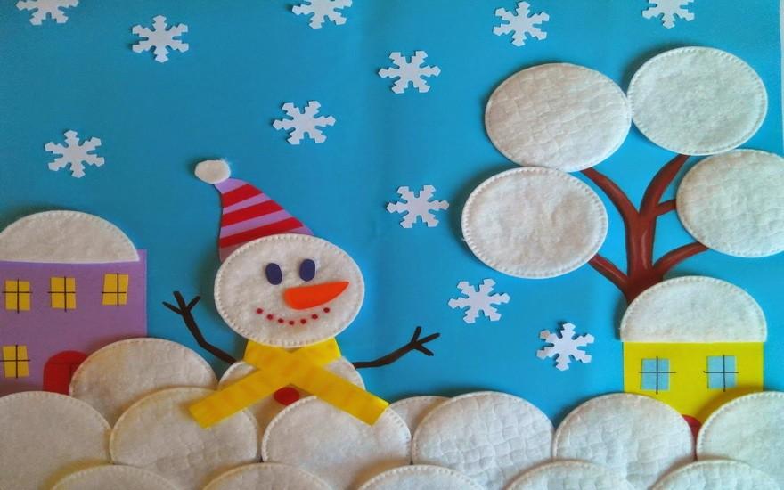 аппликация снеговик фото 1