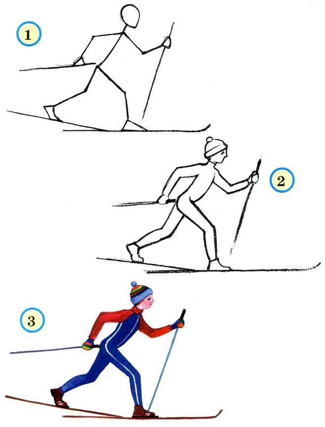 лыжник в движении, фото