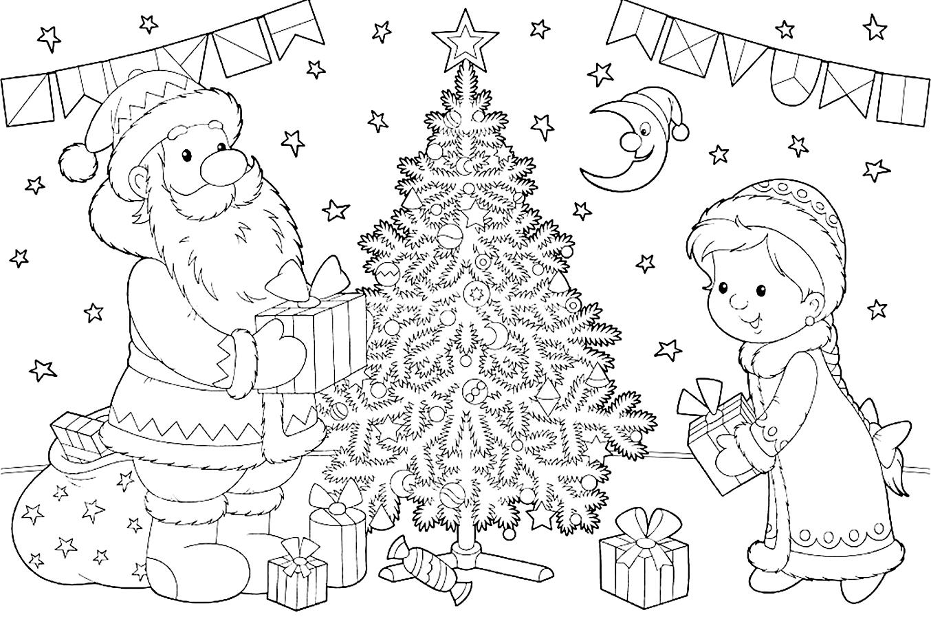 Дед мороз и Снегурочка рисунок карандашом на Новый год 2019
