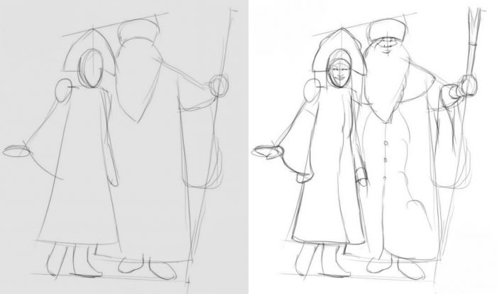 как нарисовать Деда Мороза и Снегурочку вместе фото 1
