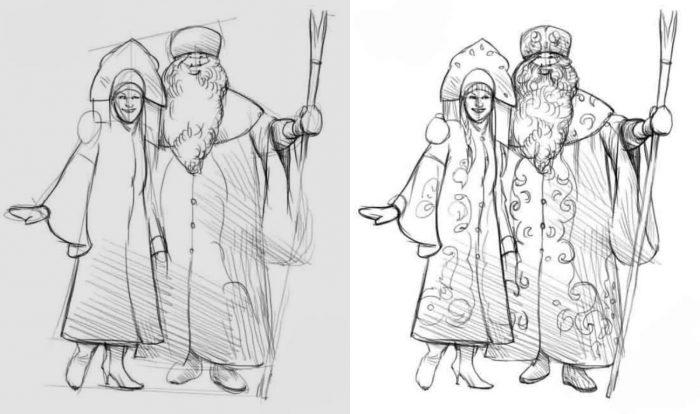 как нарисовать Деда Мороза и Снегурочку вместе фото 2