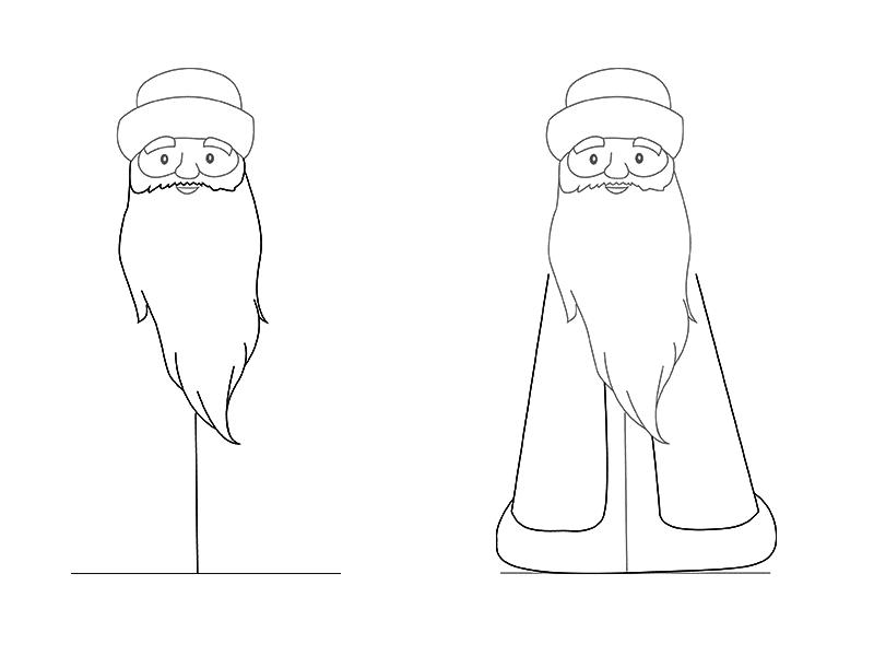 ед Мороз рисунок карандашом на Новый год 2019, как нарисовать фото 2