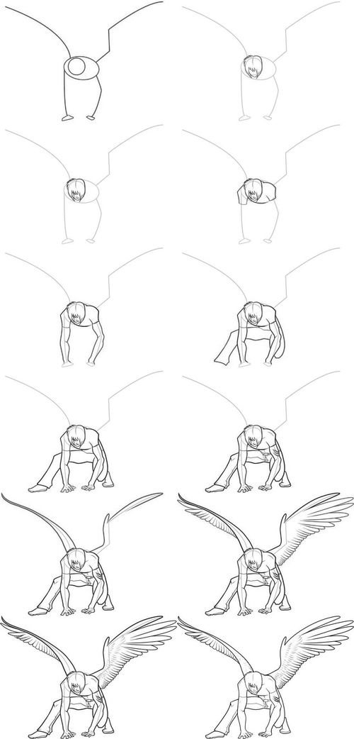 крылья ангела, как нарисовать