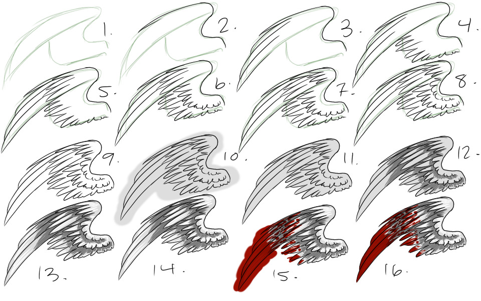 процесс рисования крыльев