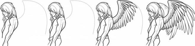 фэнтези крылья аниме, как нарисовать? Мастер-класс на фото