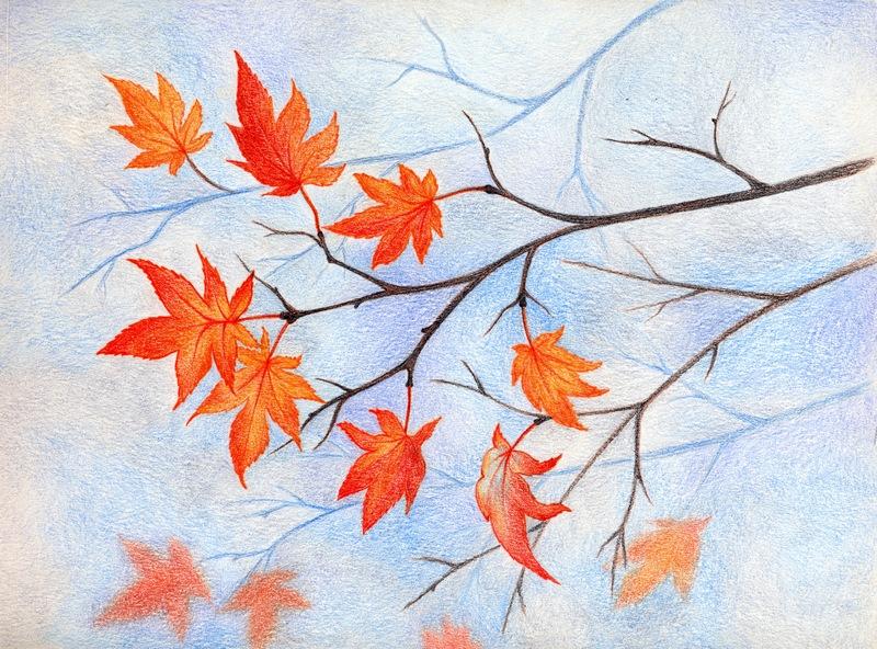 Осень картинки карандашом красиво