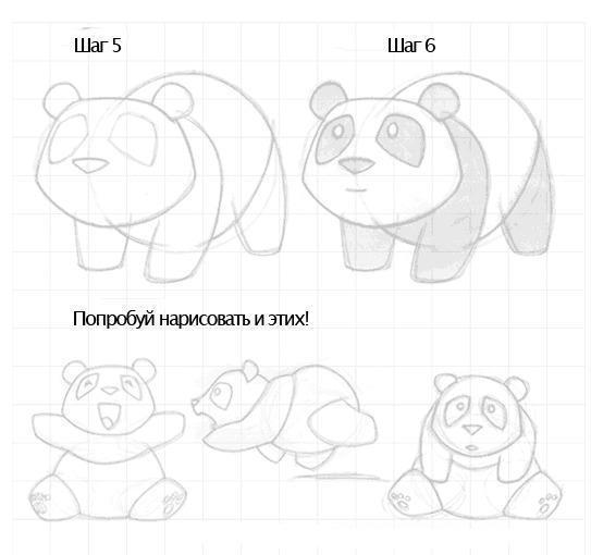 панда рисунок карандашом для детей