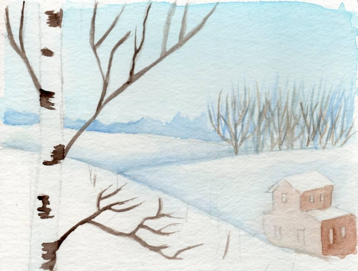 береза зимой рисунок карандашом фото 2