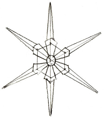 снежинка в форме цветочка на Новый год 2019 - рисунок карандашом + фото 3