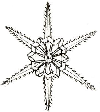 снежинка в форме цветочка на Новый год 2019 - рисунок карандашом + фото 4