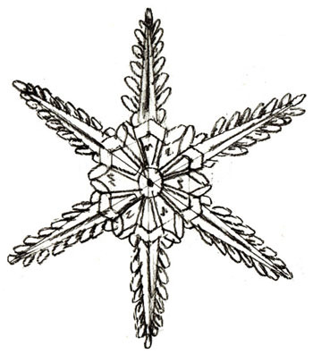 снежинка в форме цветочка на Новый год 2019 - рисунок карандашом + фото 5