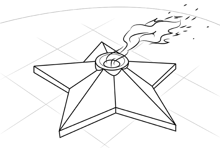 вечный огонь рисунок карандашом - легкий МК с фото 6