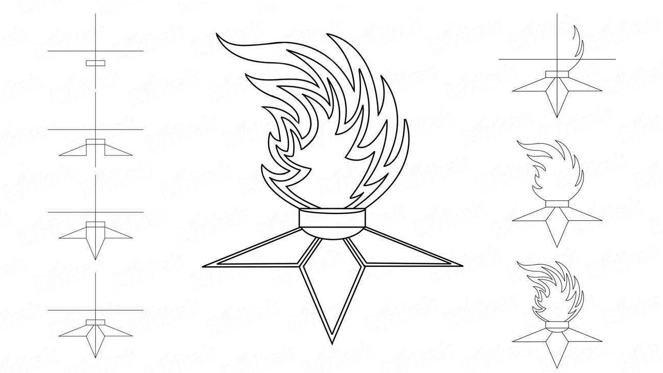 вечный огонь рисунок карандашом для школьников начальных классов