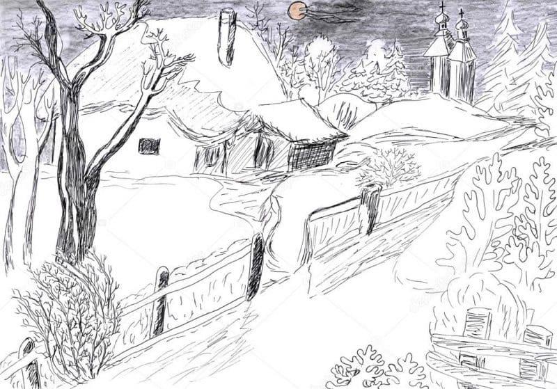 зимний пейзаж рисунок карандашом