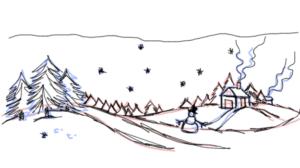 зимний пейзаж в пригороде рисунок карандашом фото 4