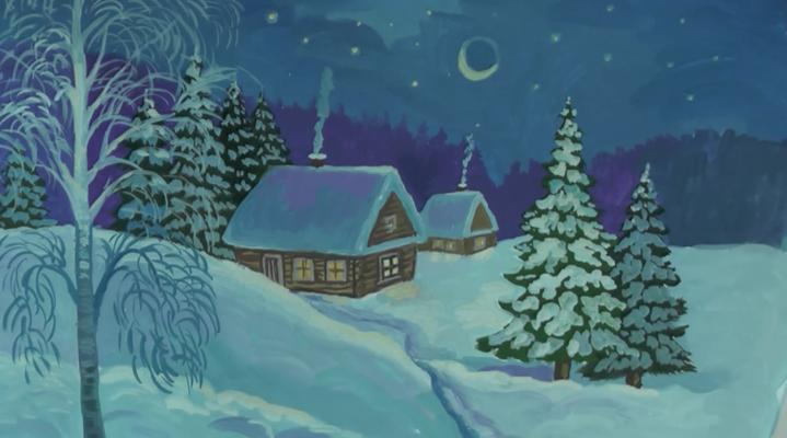 зимняя ночь рисунок карандашом, фото 1