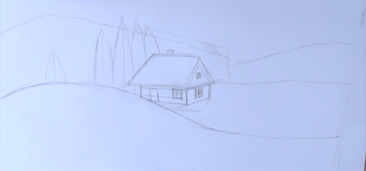 зимняя ночь рисунок карандашом, фото 2