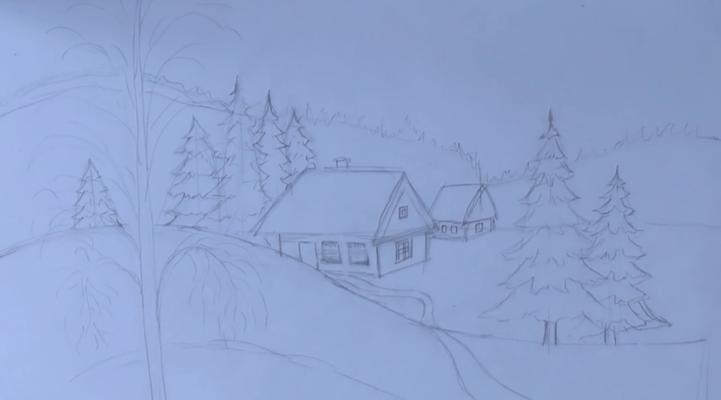 зимняя ночь рисунок карандашом, фото 3