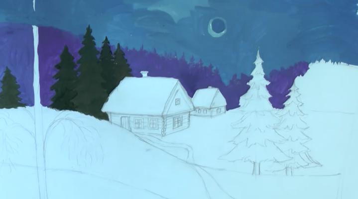 зимняя ночь рисунок карандашом, фото 4