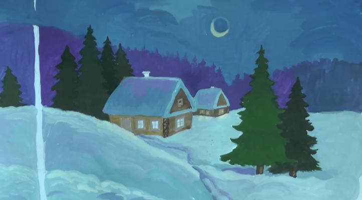 зимняя ночь рисунок карандашом, фото 5