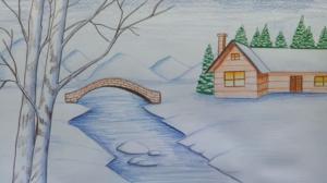 зимний пейзаж с рекой и мостиком фото 1