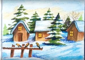 имний пейзаж в селе (деревне) рисунок карандашом, фото