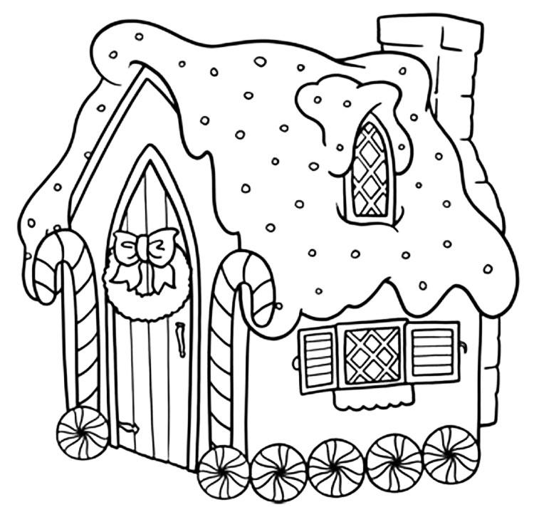 рождественский дом с венком и гирляндами фото