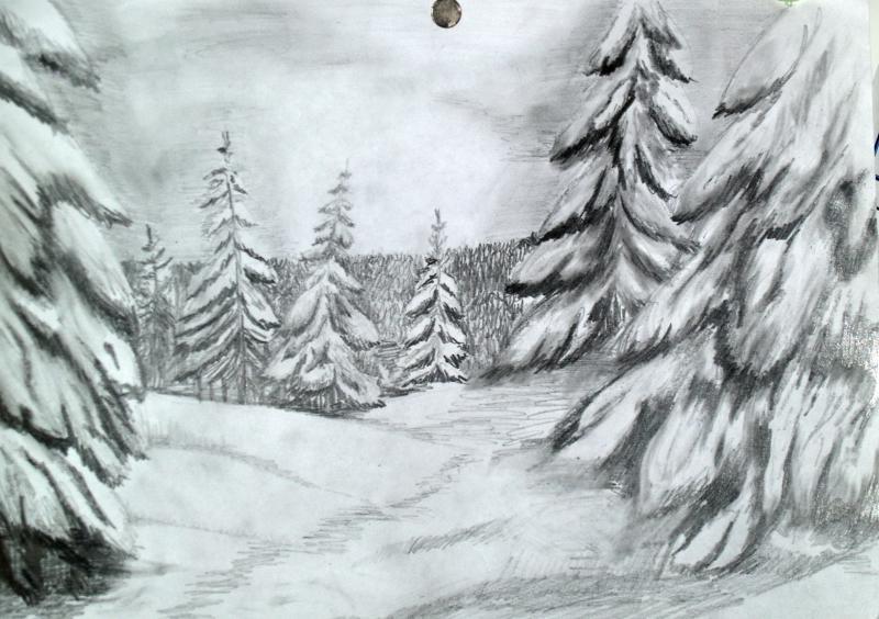 зимний пейзаж 2018-2019 рисунок карандашом, фото подборка готовых идей для творчества фото 1
