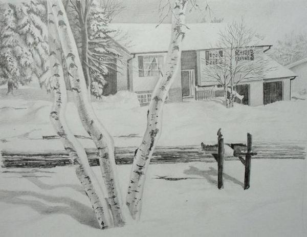 зимний пейзаж 2018-2019 рисунок карандашом, фото подборка готовых идей для творчества фото 2