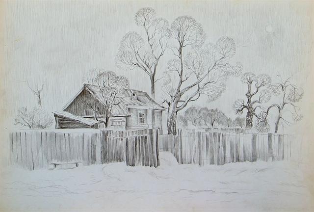 зимний пейзаж 2018-2019 рисунок карандашом, фото подборка готовых идей для творчества фото 3