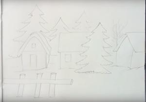 имний пейзаж в селе (деревне) рисунок карандашом, фото 3