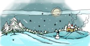 зимний пейзаж в пригороде рисунок карандашом фото 1