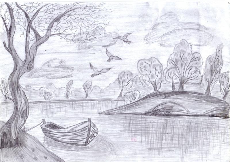 пейзаж - идеи рисунков на фото 4