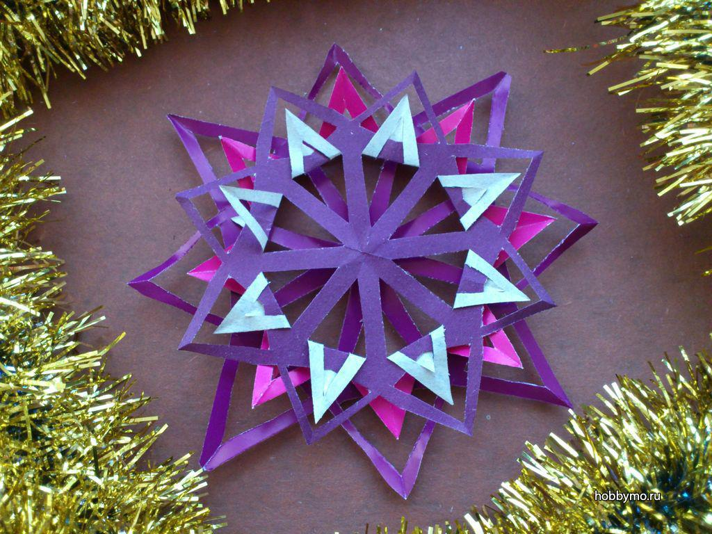 новогодняя снежинка в технике киригами 2019, фото