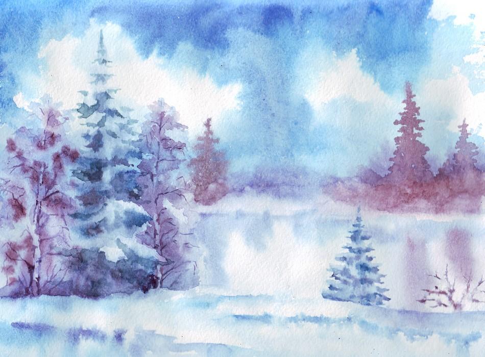рисунки зимы акварелью: фото идеи, мастер-класс