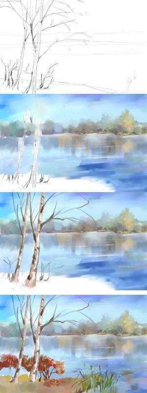 мастер-класс: рисунок зимы акварелью пошагово на фото 3
