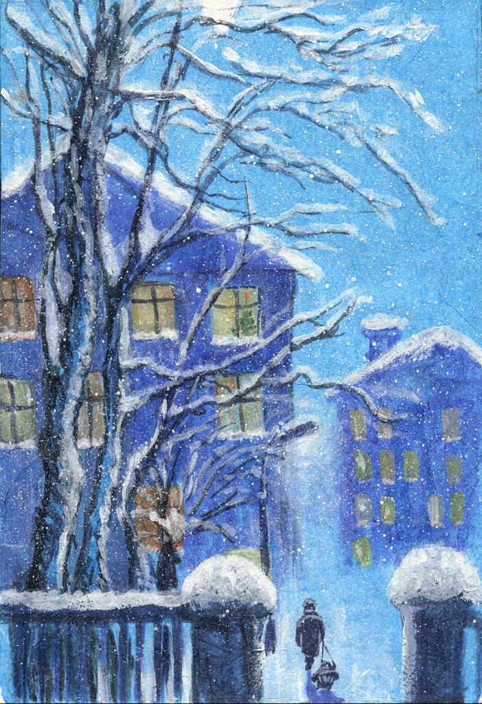 готовые рисунки зимы акварелью, фото 2