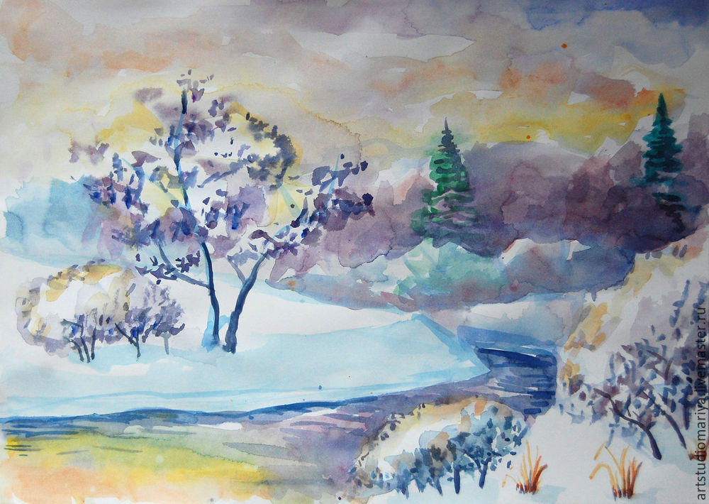 готовые рисунки зимы акварелью, фото 3