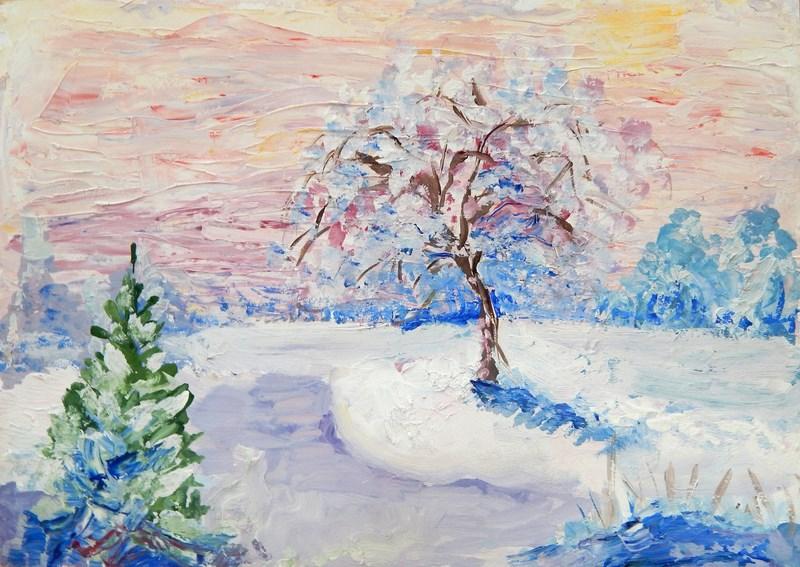 готовые рисунки зимы акварелью, фото 4