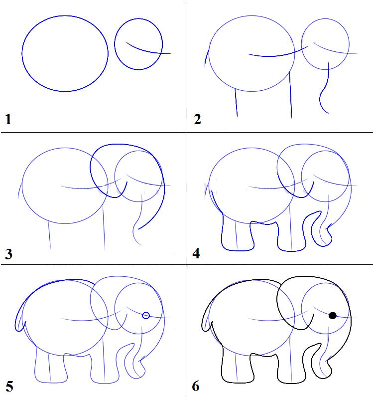 рисунок слона карандашом для детей, мастер-класс с фото 1