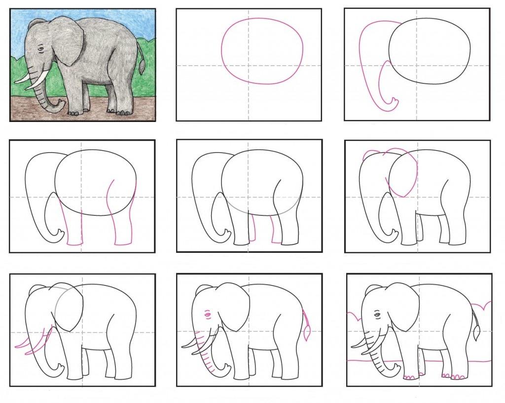 рисунок слона карандашом для детей, мастер-класс с фото 2