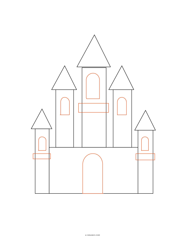 нарисовать замок поэтапно картинки ножеманских