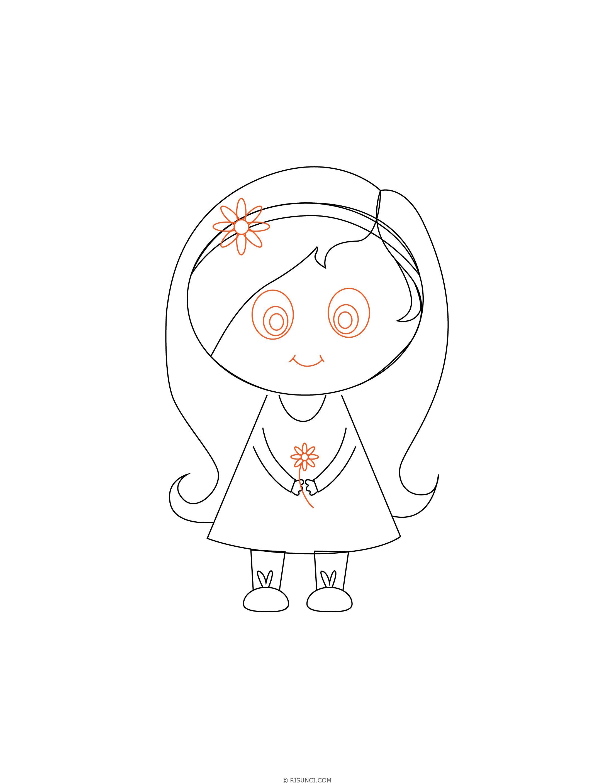 Как нарисовать девочку с длинными волосами поэтапно