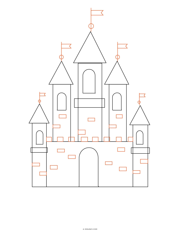 нарисовать замок поэтапно картинки еще