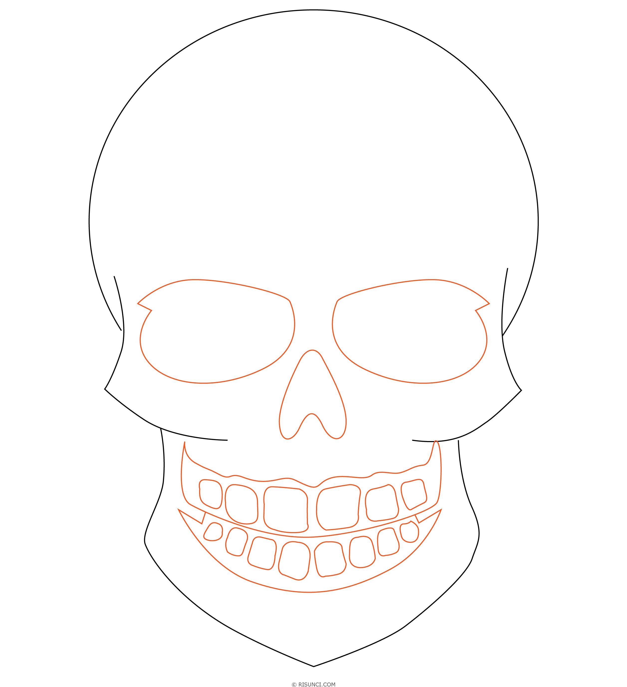 рисуем картинки карандашом поэтапно череп бывшем помещении