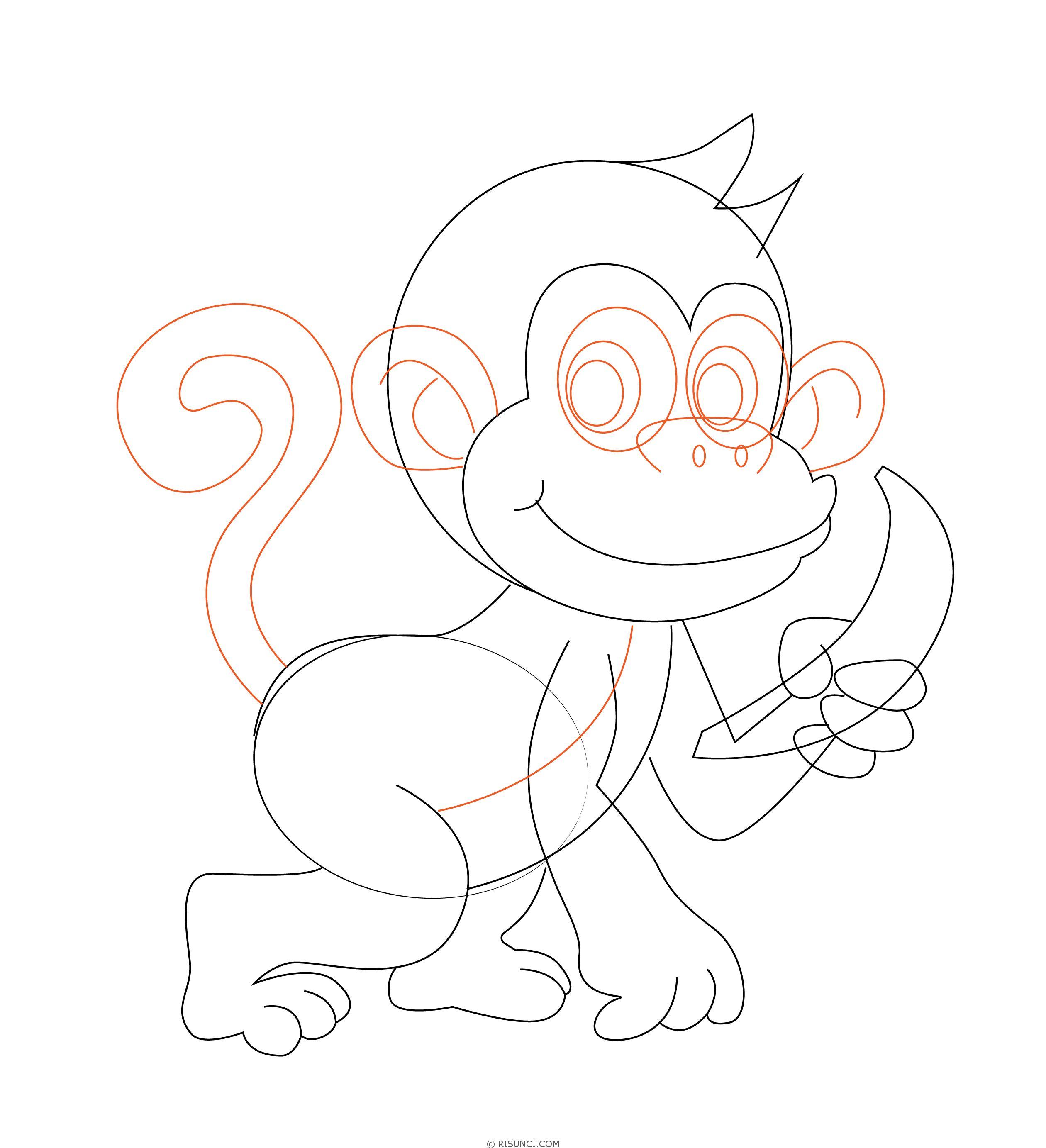 картинки обезьянку как нарисовать видео, можно