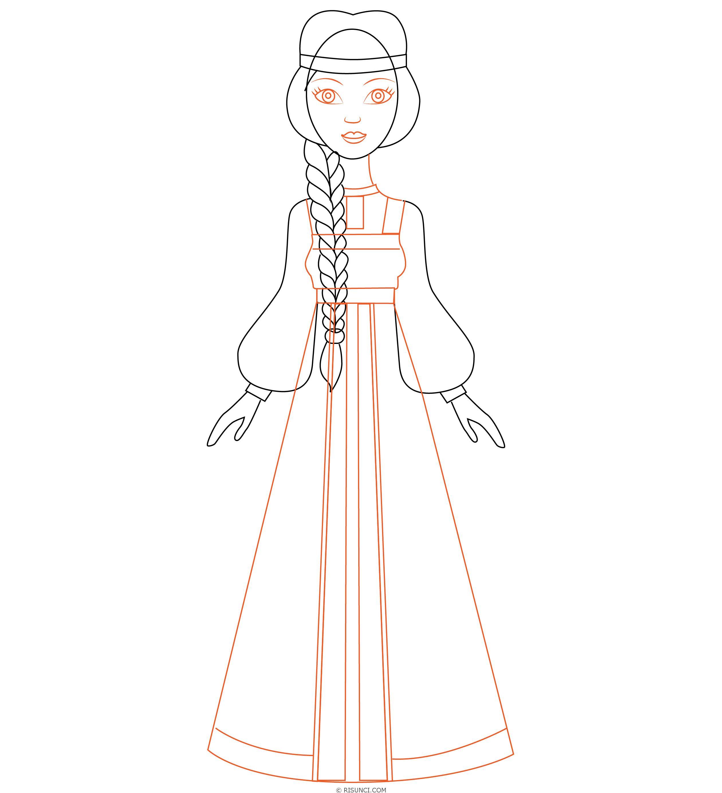Русские народные костюмы рисунок простой премиального класса