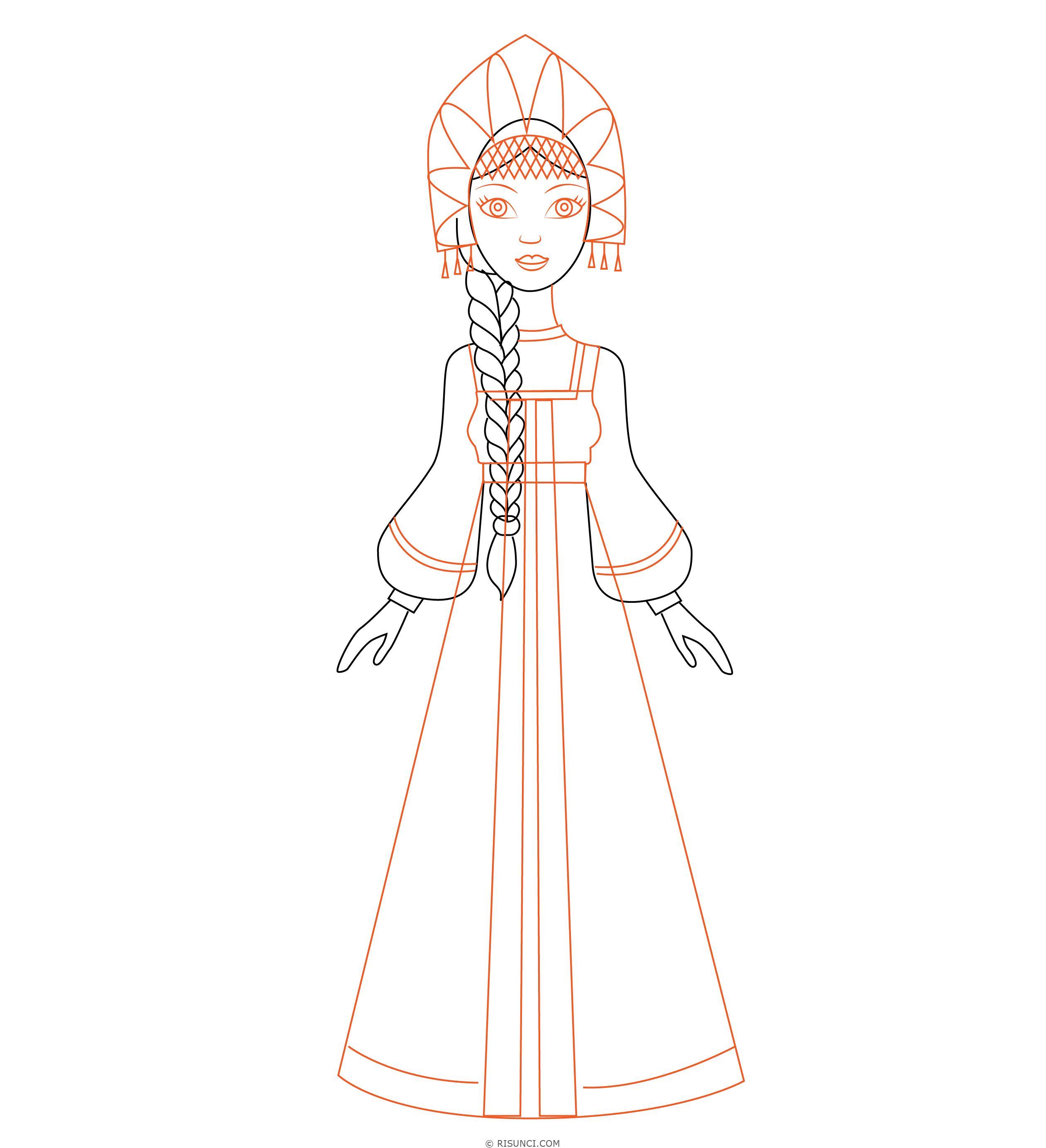 Русские народные костюмы рисунок простой дала